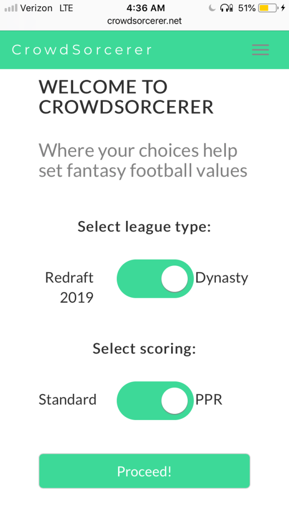 Text: Welcome to CrowdSorcerer: Where your choices help set fantasy football values. Select league type: Redraft 2019 Slider image Dynasty. Select scoring format: standard, slider image, PPR